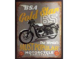 BSA GOLD STAR MOTORCYCLE METAL SIGN