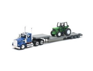 KENWORTH LOWBOY WITH FARM TRACTOR