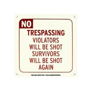 NO TRESPASSING METAL SIGN MAGNET