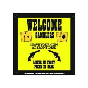 WELCOME GAMBLERS METAL SIGN MAGNET