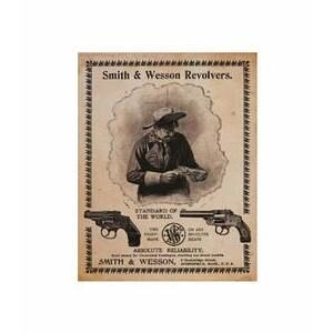 SMITH AND WESSON STANDARD OF THE WORLD METAL SIGN