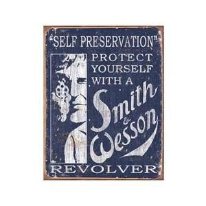 SMITH AND WESSON SELF PRESERVATION METAL SIGN