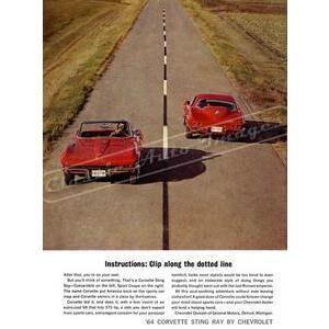1964 CHEVY CORVETTE POSTER--bottom corner slightly bent