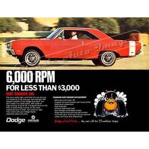 1969 DODGE DART SWINGER POSTER