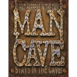 MAN CAVE - DIAMOND PLATE METAL SIGN