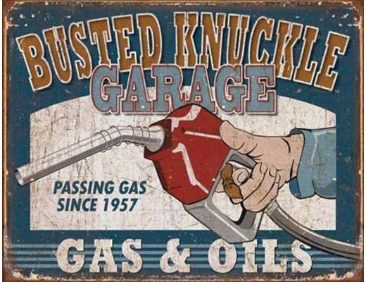 BUSTED KNUCKLE GAS & OIL VINTAGE METAL SIGN