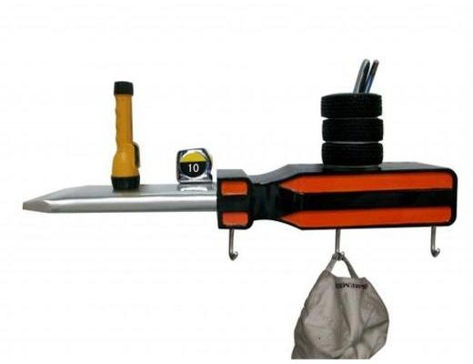 Screw Driver 3-D Coat Rack and Shelf