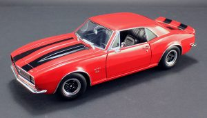 1967 Chevrolet Camaro RS 427 - Red with Black Stripes at diecastdepot