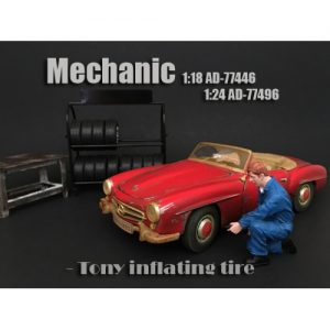 1:24 Mechanic Figurine - Tony Inlfating Tire at diecastdepot