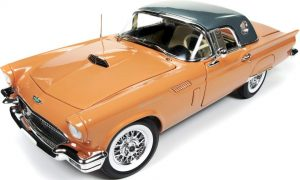 1957 Ford Thunderbird - Coral Sand w/Dark SILVER roof at diecastdepot