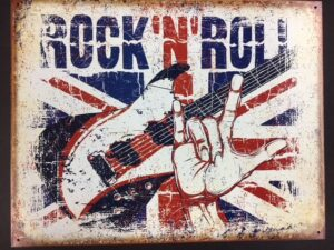 """ROCK N ROLL - metal sign, red, white & blue colors (16"""" x 12.5"""") at diecastdepot"""