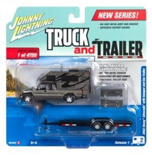2002 Chevy Truck (Gunmetal Metallic) w/Truck Camper & Open Trailer at diecastdepot