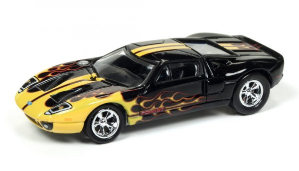 2005 Ford GT (Black with Flames) (Gloss Black w/ Yellow/Red Flames) at diecastdepot