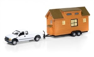 2004 Ford F250 Truck with Cedar Siding Tiny House at diecastdepot