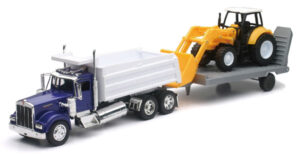 Kenworth Dump Truck with Front Loader Tractor and Flatbed Trailer at diecastdepot