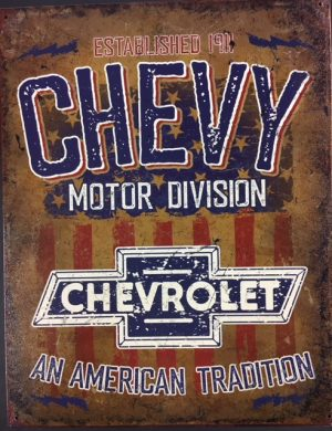 Chevy Motor Division Established 1911 - Metal sign at diecastdepot