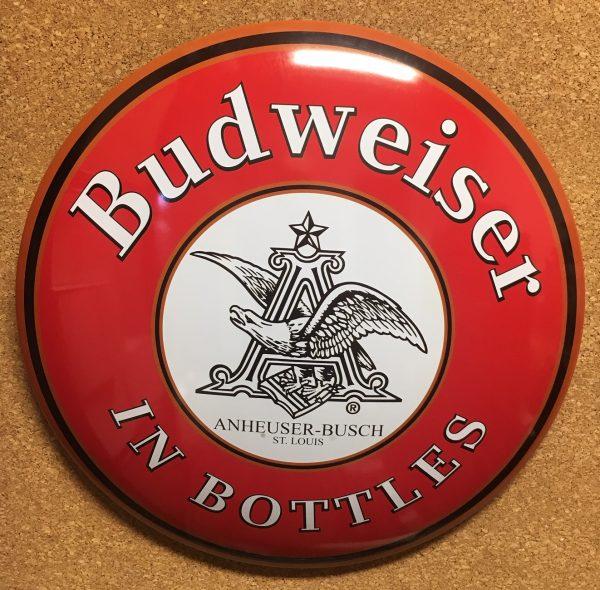 145495 - BUDWEISER BOTTLES DOMED METAL SIGN
