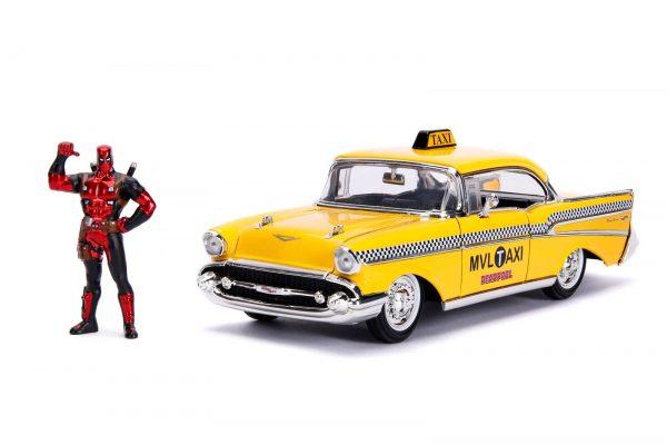 30290 1.24 hwr 1957 chevy bel air taxi w deadpool 1 - 1957 Chevy Bel Air TAXI w DEADPOOL - Hollywood Rides Series by Jada