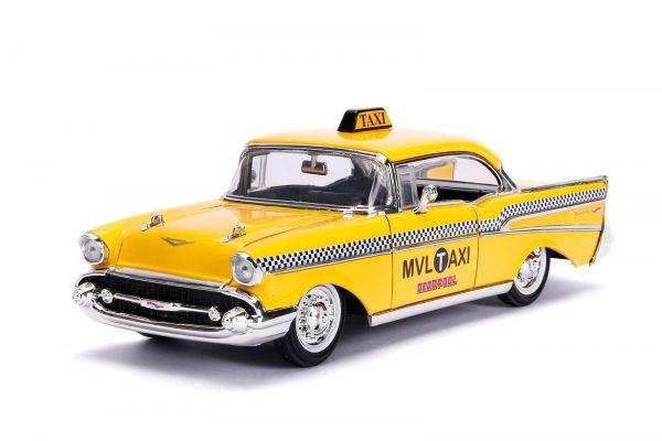 30290 1.24 hwr 1957 chevy bel air taxi w deadpool 3 - 1957 Chevy Bel Air TAXI w DEADPOOL - Hollywood Rides Series by Jada