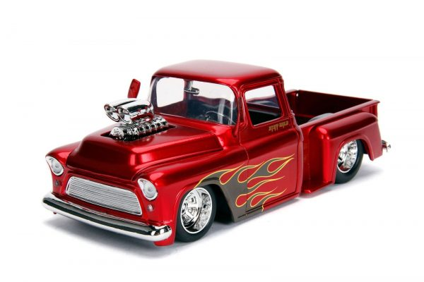 30713 1.24 just trucks 1955 chevy stepside candy red 1 - 1955 Chevy Stepside Pick up Truck – Candy Red
