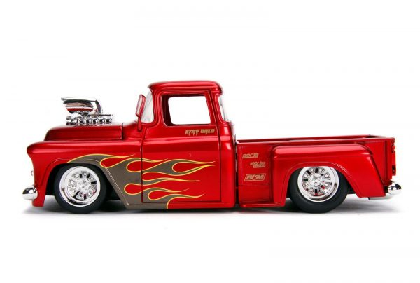30713 1.24 just trucks 1955 chevy stepside candy red 2 - 1955 Chevy Stepside Pick up Truck – Candy Red