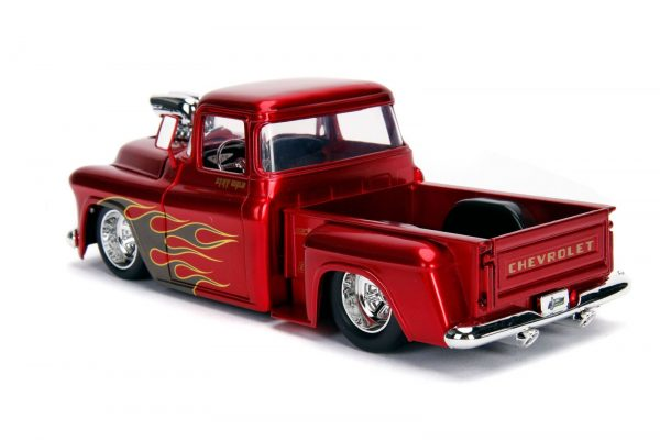 30713 1.24 just trucks 1955 chevy stepside candy red 3 - 1955 Chevy Stepside Pick up Truck – Candy Red