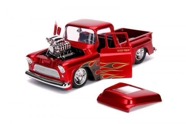 30713 1.24 just trucks 1955 chevy stepside candy red 4 - 1955 Chevy Stepside Pick up Truck – Candy Red
