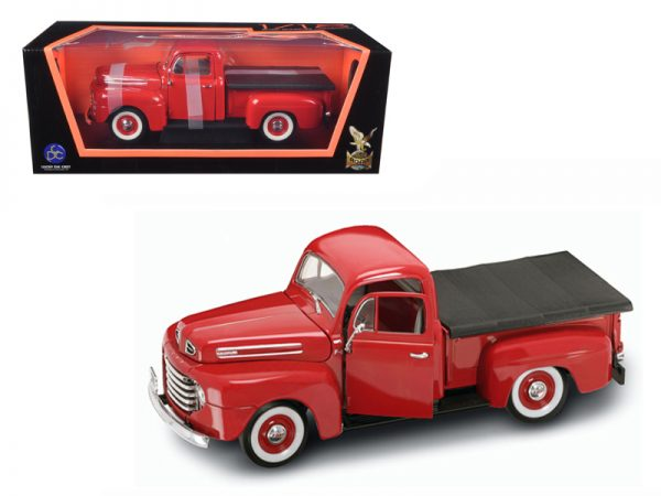92218r - 1948 Ford F-100 Pickup Truck with Flatbed cover- 1:18 RED