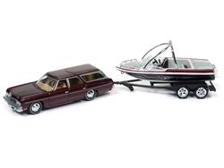 jlbt004a1 - 1973 Chevy Caprice Station Wagon (Dark Red Poly) & Malibu Boat 1:64 Johnny Lightning
