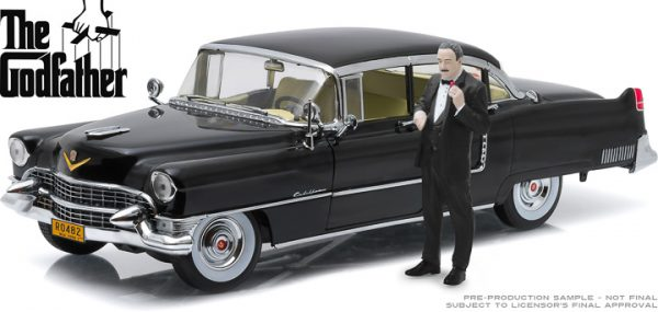 13531 1 - 1955 Cadillac Fleetwood Series 60 Special with Don Corleone Figure- 1:18 The Godfather (1972)