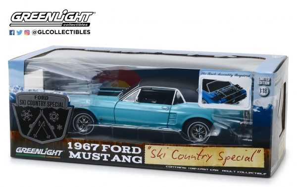 """13535f - 1967 Ford Mustang Coupe """"Ski Country Special"""" - Winter Park Turquoise 1:18"""
