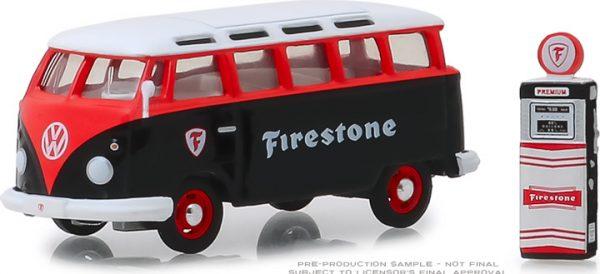 """97060a - 1964 Volkswagen Samba Bus """"Firestone"""" with Firestone Gas Pump-1:64"""