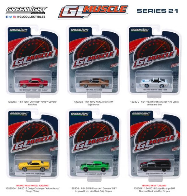 13230 - 2017 Chevrolet Camaro SS - Krypton Green with Black Rally Stripes- Muscle Series 21