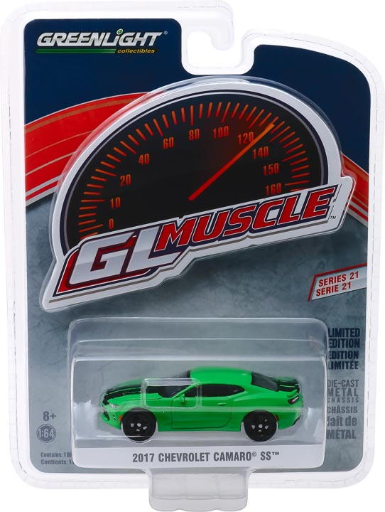 13230e - 2017 Chevrolet Camaro SS - Krypton Green with Black Rally Stripes- Muscle Series 21