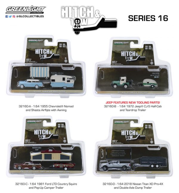 32160set - 1972 Jeep CJ-5 Half-Cab and Teardrop Trailer -Hitch and Tow Series 16