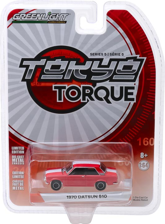 47030b - 1970 Datsun 510 Custom in Red with White Stripes- Tokyo Torque Series 5