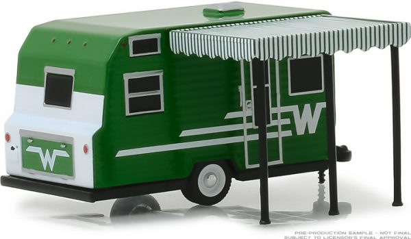 34060d - Hitched Homes Series 6 - 1965 Winnebago Travel Trailer 216 - White and Green with Awning