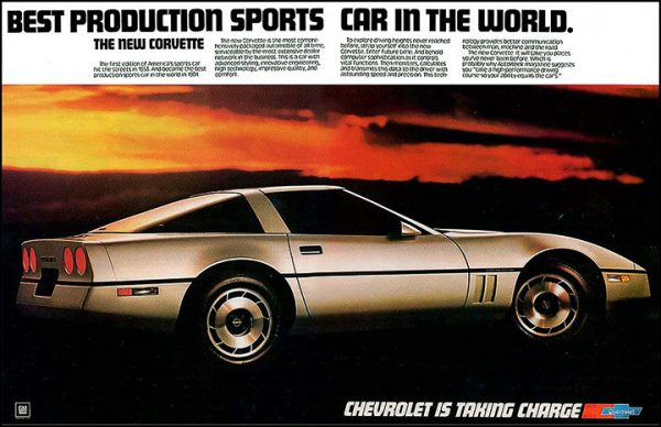 """13534 - 1984 Chevrolet Corvette C4 - Silver Metallic - Vintage Ad Cars """"Best Production Sports Car in the World"""""""