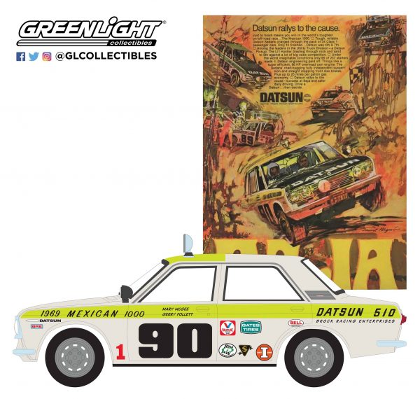 "39020b - 1969 Datsun 510 4-Door Sedan - #90 1969 Mexican 1000 - ""Datsun Rallys to the Cause"""