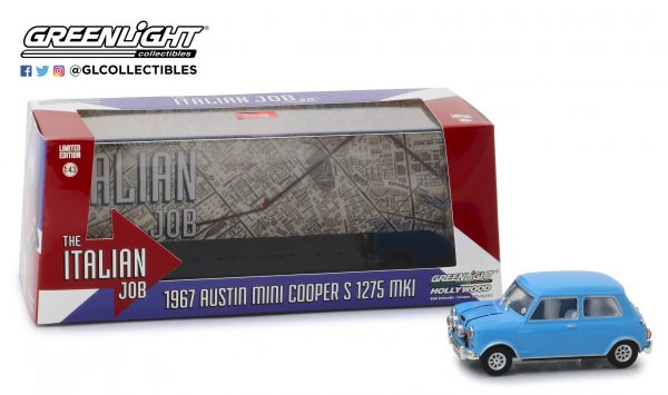 86549a - 1967 Austin Mini Cooper S 1275 Mk. I in Blue with Black Leather Straps - The Italian Job (1969)