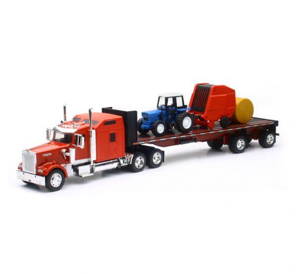 10353b - Kenworth W900 W/ Farm Tractor & Trailer