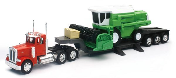 11253a - Peterbilt 379 Lowboy with Combine Harvester (cab is die-cast metal, balance is high impact plastic)