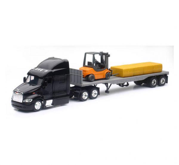15123j - Peterbilt 387 Flatbed W/ Forklift & Hay Bale