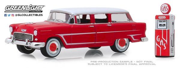 97070a - 1955 Chevrolet Two-Ten Townsman with Vintage Gas Pump