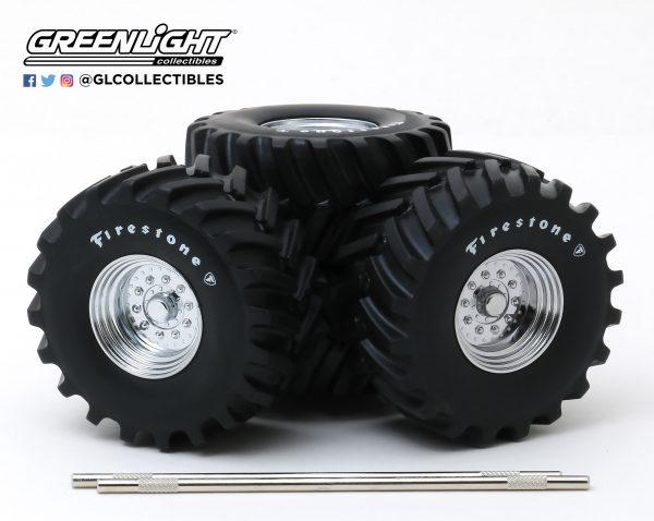 """13546a - Kings of Crunch 48"""" inch Monster Truck Firestone Wheel & Tire Set - 1:18 scale"""