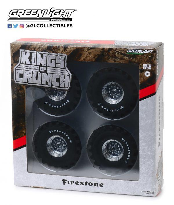 """13546b - Kings of Crunch 48"""" inch Monster Truck Firestone Wheel & Tire Set - 1:18 scale"""