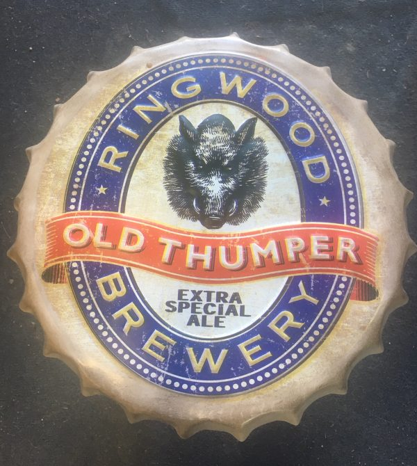 16001a - Ring Wood Brewery Folding Metal Bottle Cap Stool - Old Thumper