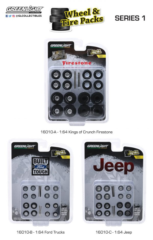 16010a - Jeep Wheel & Tire Pack - 16 Wheels, 16 Tires, and 8 Axles