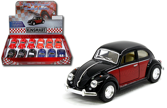 kt5373d - 1967 Volkswagon Beetle - Classic - two tone pull back action cars