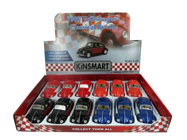 kt5373d2 - 1967 Volkswagon Beetle - Classic - two tone pull back action cars